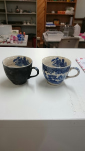 Before and after restoration of cups